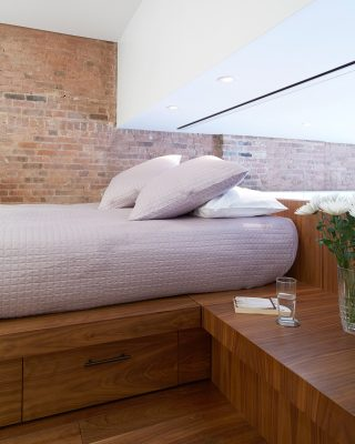 platform bed, brick, walnut, stadt architecture, christopher kitterman