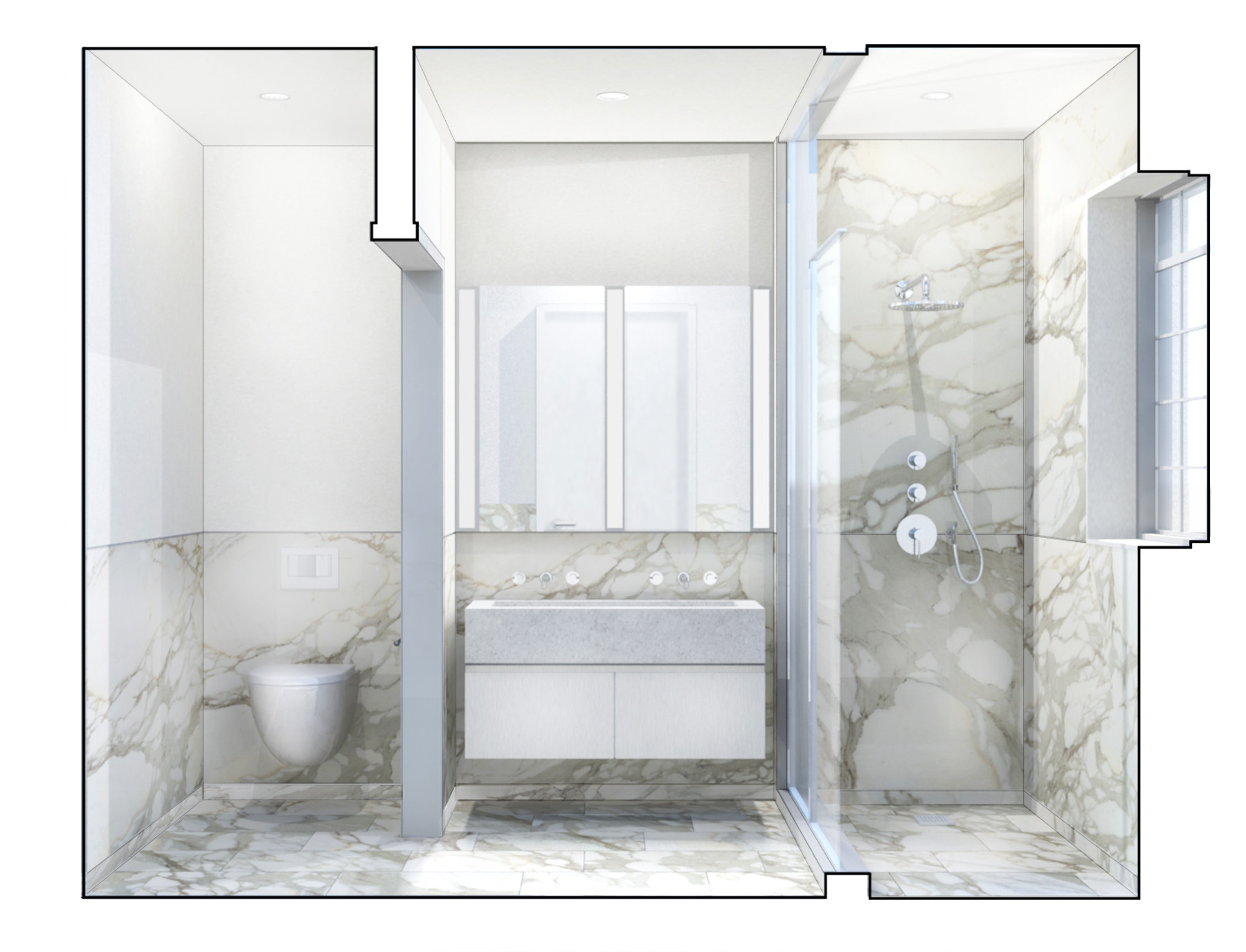 Stadt Architecture, Upper West Side Apartment II, bathroom, floating vanity, concrete, calacatta gold, slab, STADT