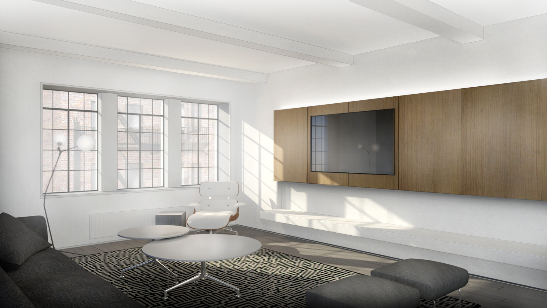 Stadt Architecture, Upper West Side Apartment II, Oak, TV, Floating Bench, Kitterman, STADT, nyc architects, ny apartment renovation