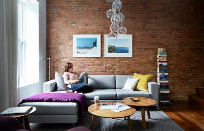 STADT Architecture, Loft, exposed brick, gus couch, Paper Table, ABC Home, natural light, STADT