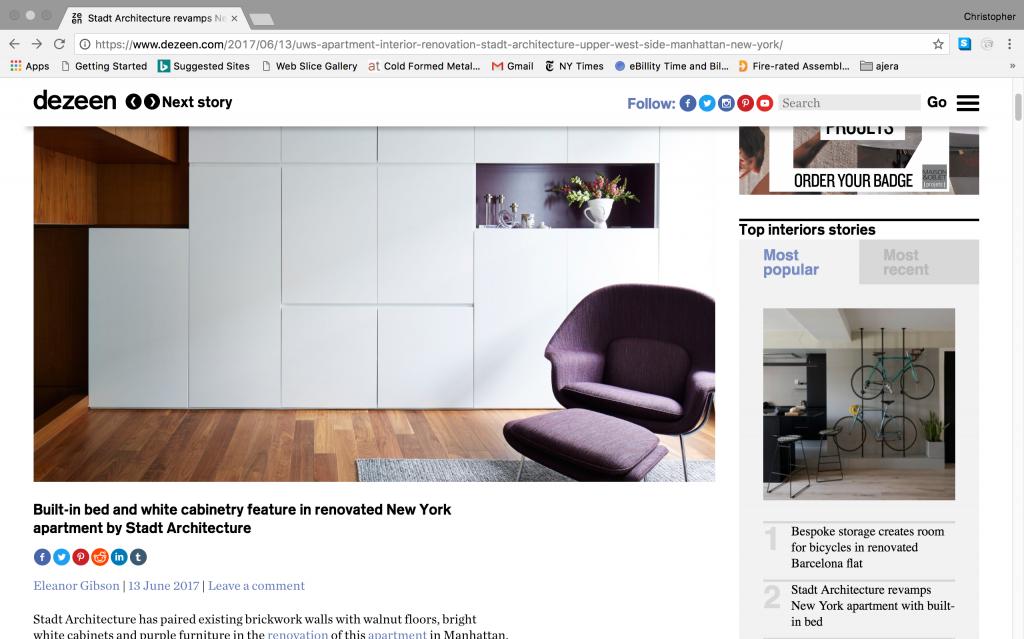 STADT, STADT Architecture, Dezeen, UWS Apartment I, Kitterman, UK, England, nyc architects, ny apartment renovation