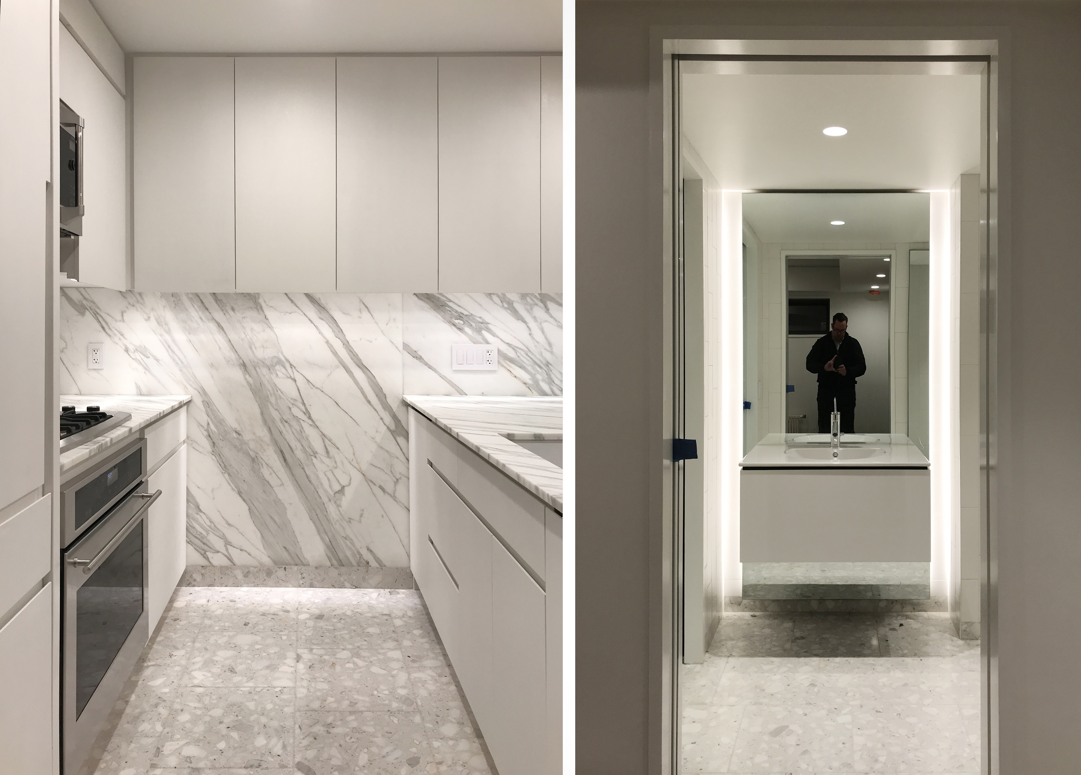 STADT Architecture, calcatta gold, terrazzo floors, floating vanity, nyc architects
