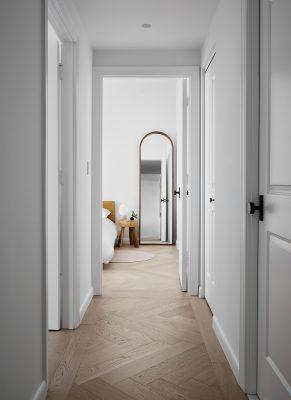 Long Island City Apartment, STADT Architecture, Herringbone Wood Floor
