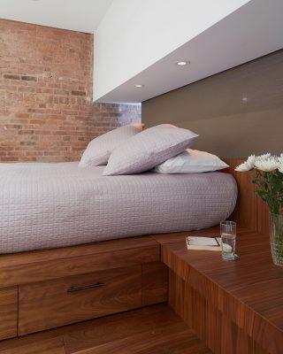 built-in bed, platform bed, walnut, brick, stadt architecture