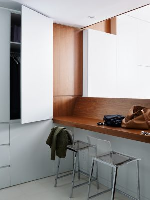STADT Architecture, Loft, walnut, cabinetry, integrated finger pull, acrylic, STADT, nyc architects, ny apartment renovation
