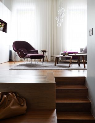 STADT Architecture, Loft, Vertical Loft, Paper Table, Walnut, Womb Chair, STADT, nyc architects, ny apartment renovation