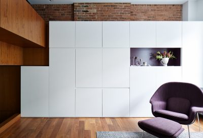 STADT Architecture, Loft, Plum, Womb Chair, Cabinetry, STADT, nyc architects, ny apartment renovation