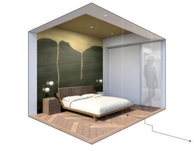 STADT Architecture, Chelsea Pied-a-terre, bedroom, Great Bed of Ware, Canopy Bed, Calico Wallpaper, LV WOOD, nyc architects, ny apartment renovation