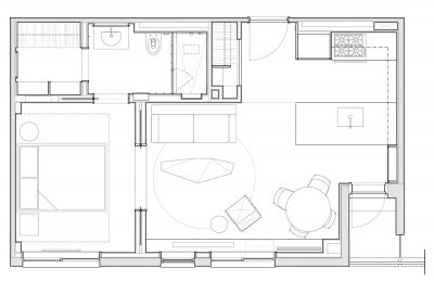STADT Architecture, Chelsea Pied-a-terre, floor plan, nyc architects, ny apartment renovation